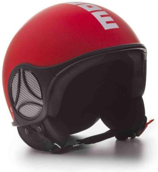 MOMO Minimomo Red Matt Logo White Jet Helmet