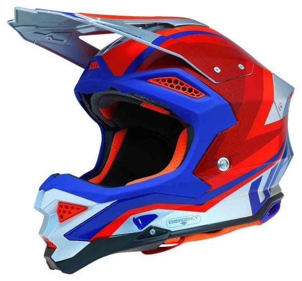 UFO Diamond silver red Motocross Helmet
